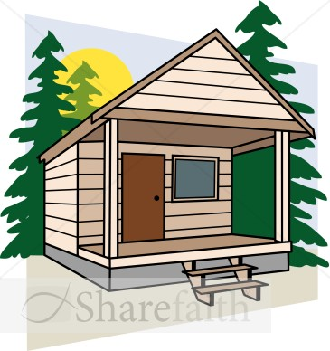 Cabin Camping Clipart.