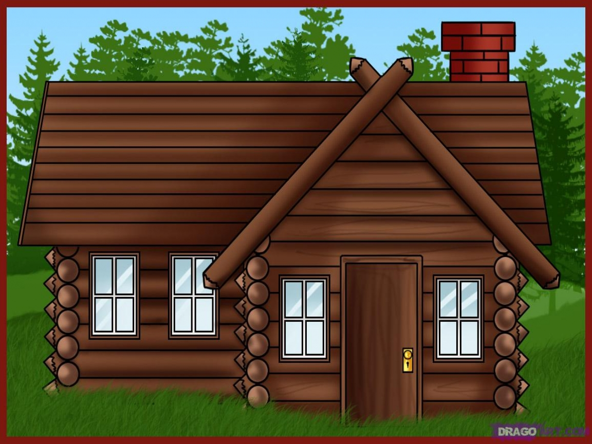 New log house clipart.