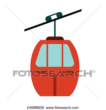 Red cable car transport Clipart.
