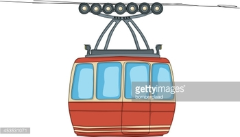 Cable Car on Ropeway stock vectors.