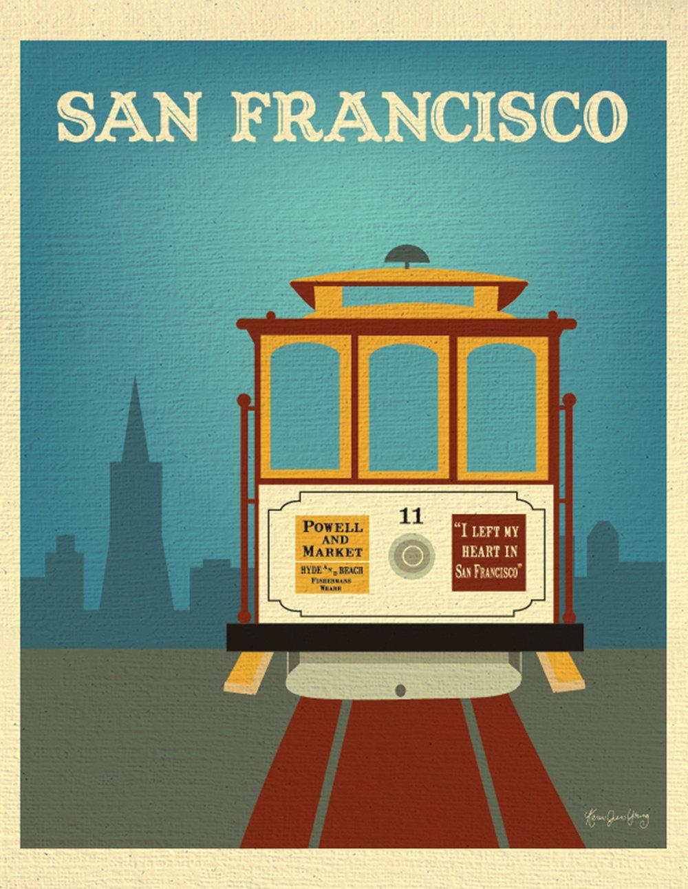 San Francisco Print Cable Car Wall Art San Francisco Travel.