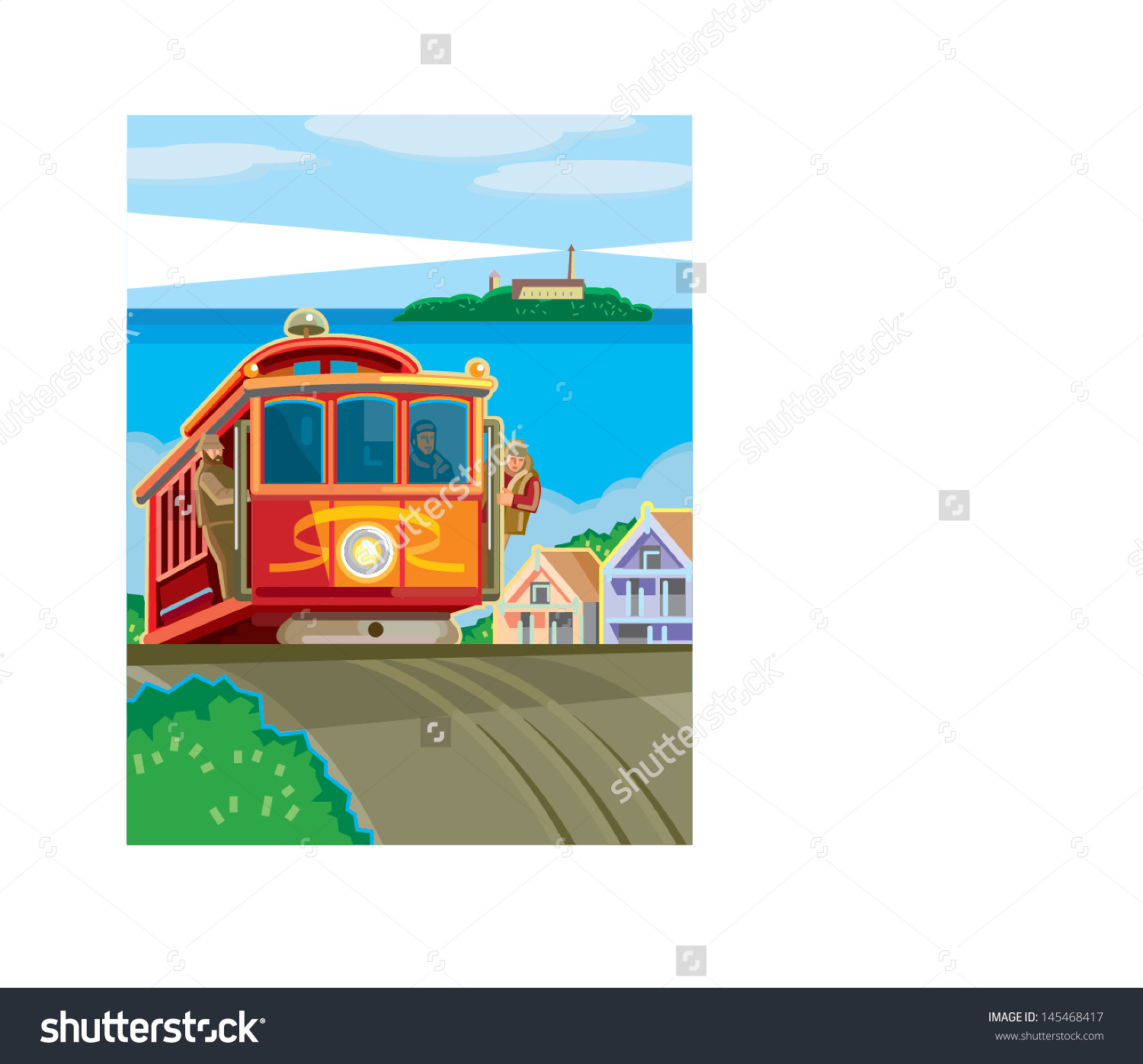 San Francisco Cable Car Stock Vector 145468417.
