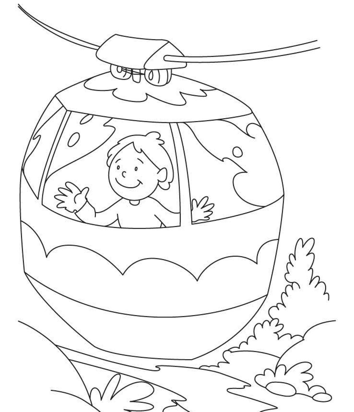 Cable Car Coloring Page.