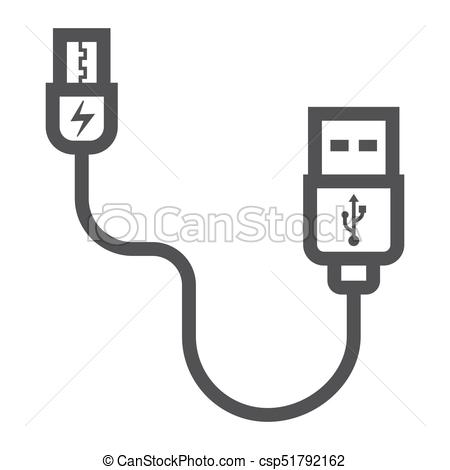 USB cable line icon, connector and charger.