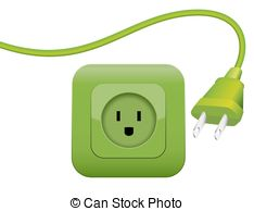 Clipart Vector of Cable Clutter Plugs Socket Color.