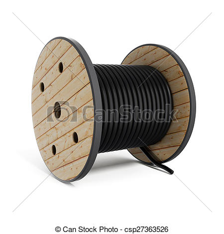 Clip Art of Cable drum Industrial hose reel csp27363526.