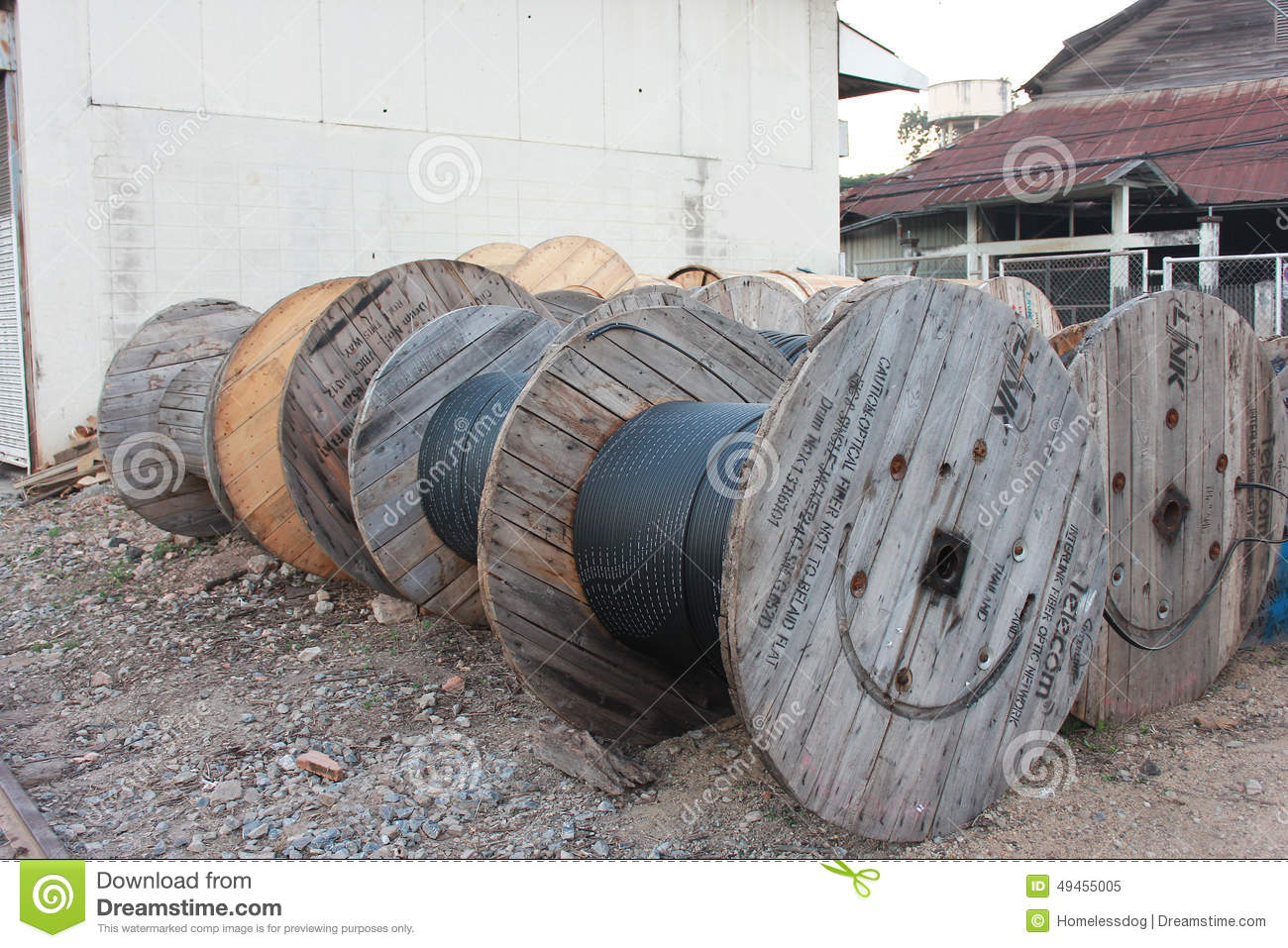 Large Cable Drum Stock Photo.