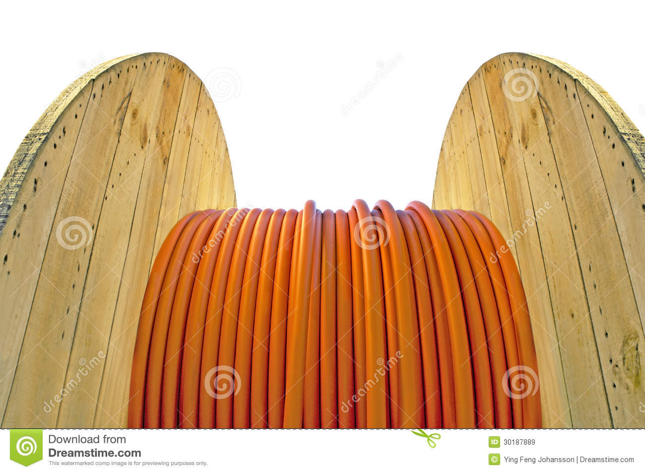 Cable Drum With Orange Cable Royalty Free Stock Images.