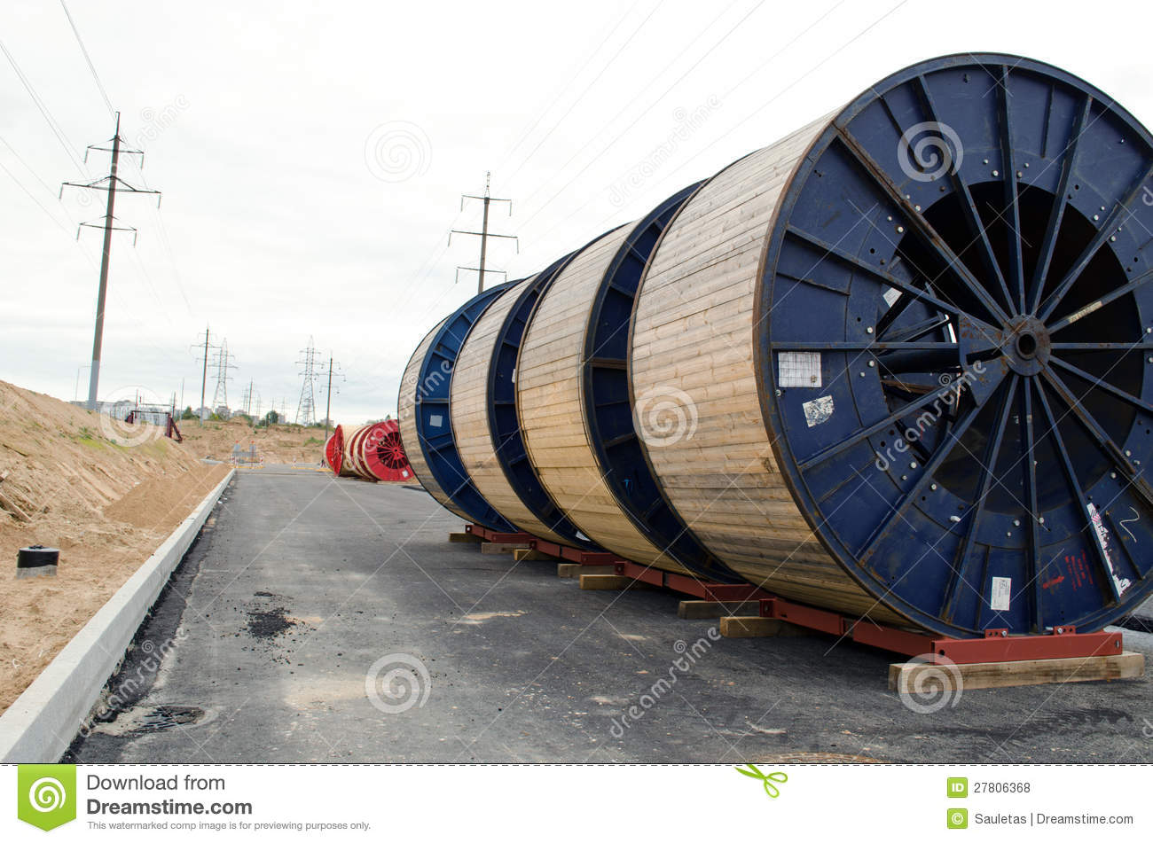 Cable Reel In The Construction Site Royalty Free Stock Photography.