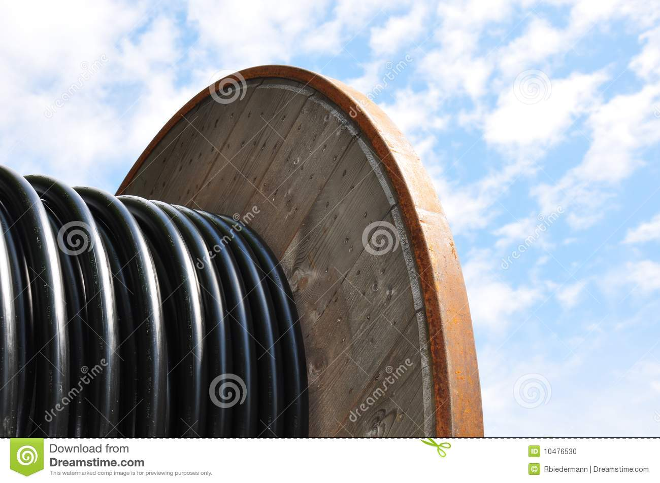 Cable Reel Stock Photo.
