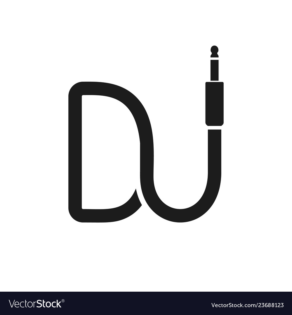 Isolated dj logo wire cable audio jack music.