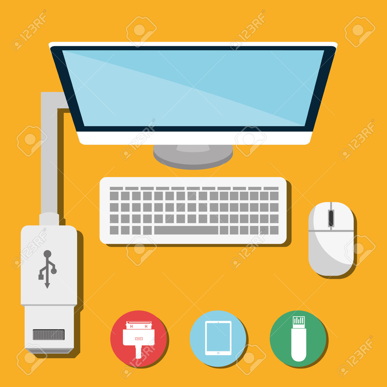 USB Portable Memory Or Cable Graphic Design, Vector Illustration.