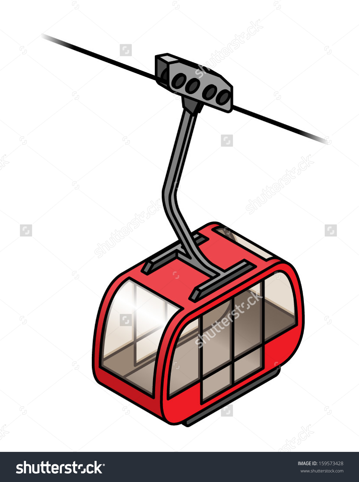 Red Cable Car Gondola Stock Vector 159573428.