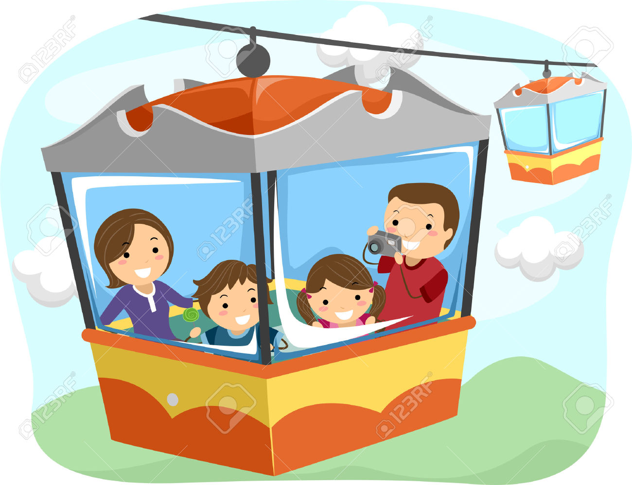 Illustration Of A Stickman Family Riding A Cable Car Stock Photo.