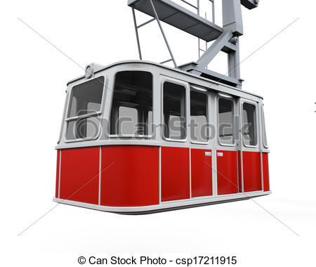 Clipart of Red Cable Car isolated on white background. 3D render.