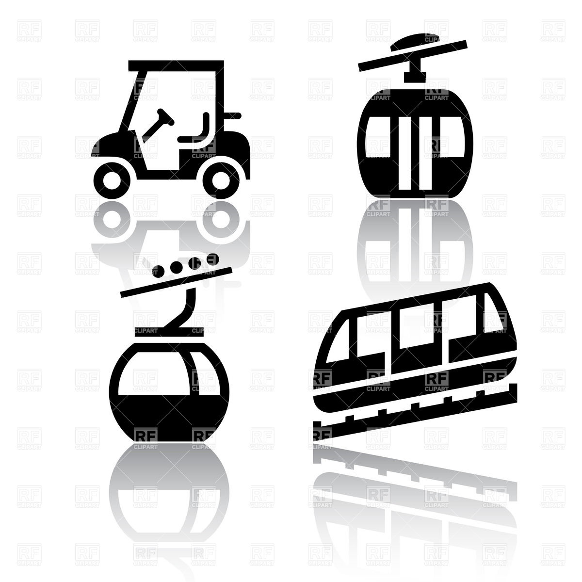 Funicular (cable railway) and golf cart Vector Image #18110.