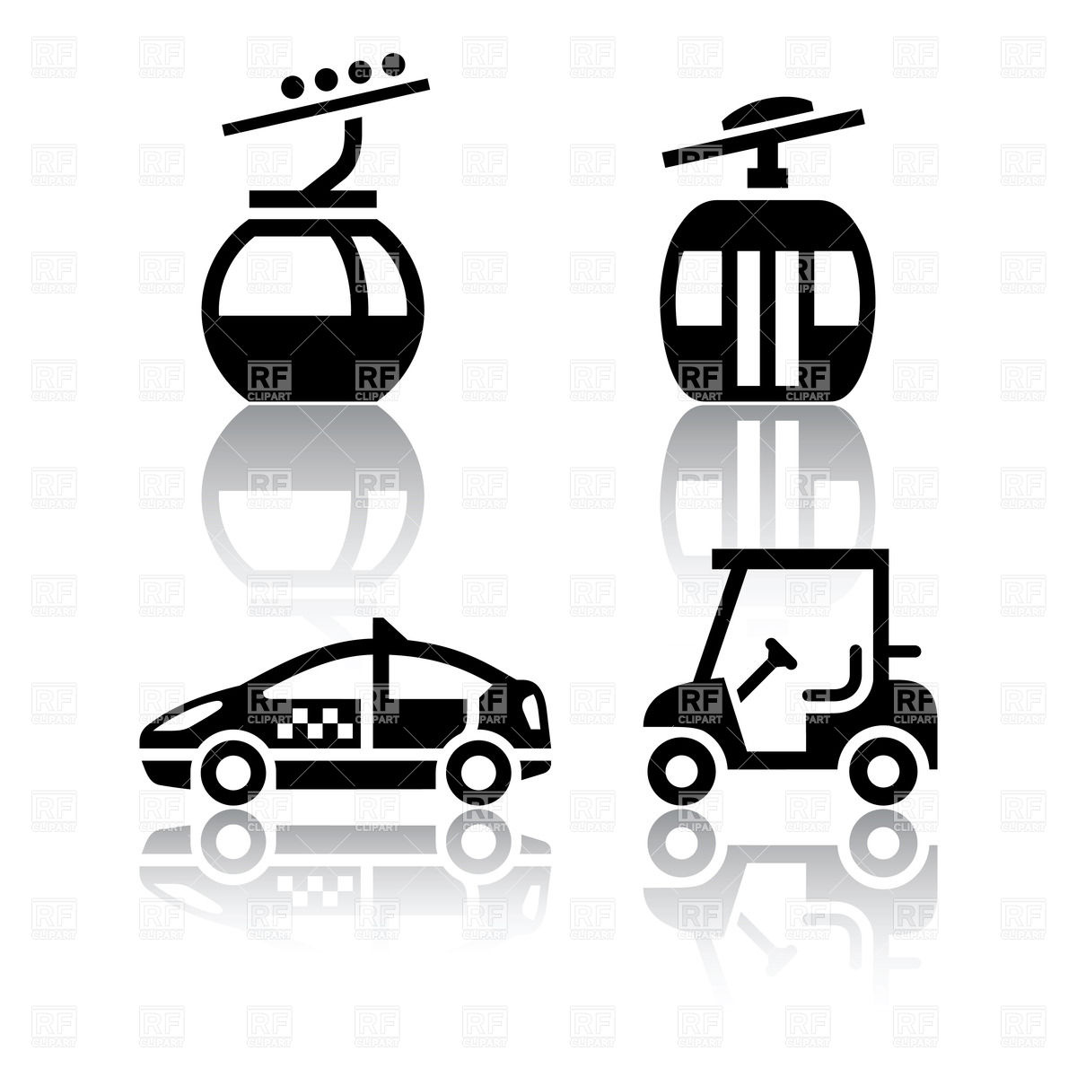 Overhead cable car, taxi and golf cart icons Vector Image #18113.