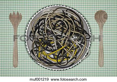 Stock Photograph of Germany, Frankfurt, Cable spaghetti in salad.