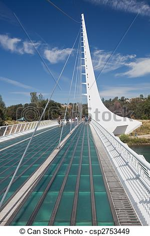 Stock Photographs of Sundial Bridge is a cantilever spar cable.