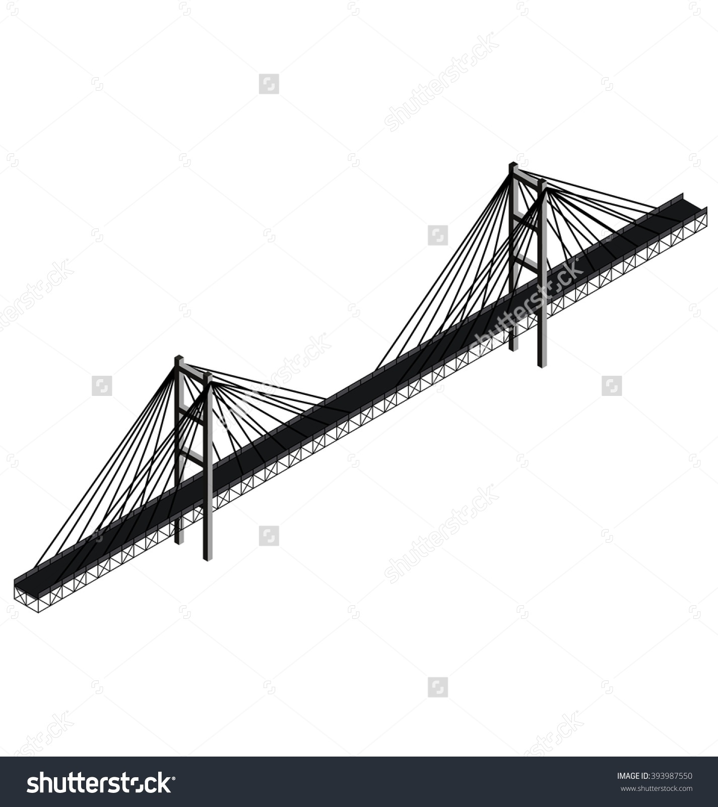 Isometric Cable Stayed Bridge Vector Stock Vector 393987550.