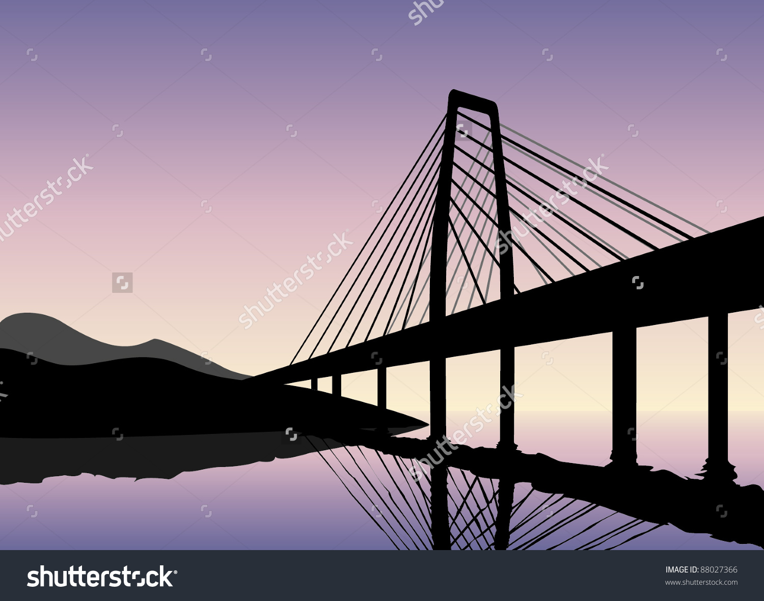 Bridge Silhouette Front Sunset Vector Image Stock Vector 88027366.
