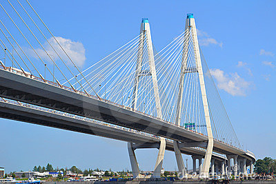 Construction Cable Stayed Bridge St Petersburg Russia Stock Photos.