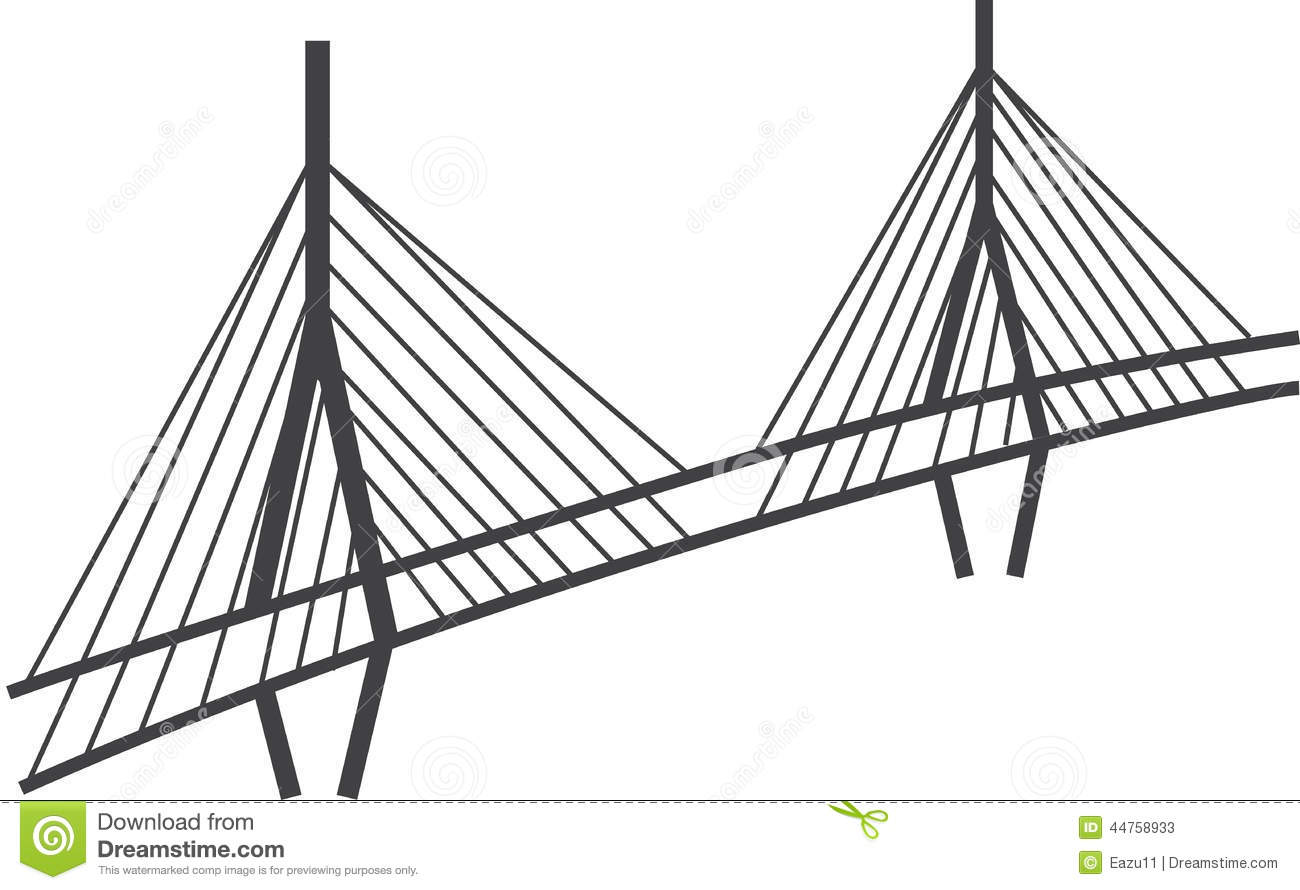 cable stayed bridge clipart