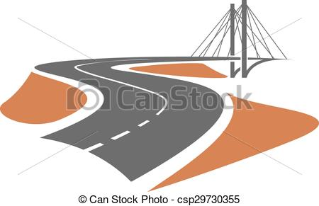 Clipart Vector of Road leading to the cable.