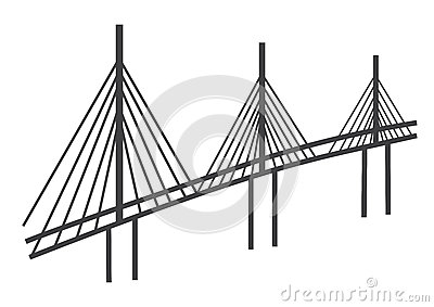 Steel Cable Stayed Bridge Stock Illustrations.
