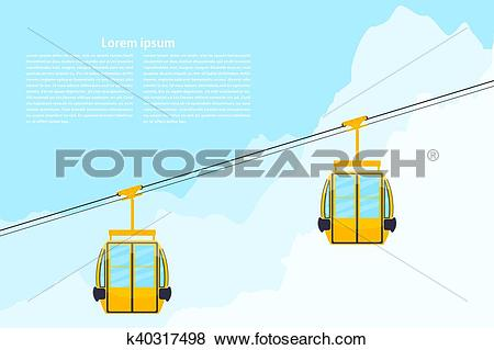 Clip Art of Color cabin cableway. Design element of the cableway.