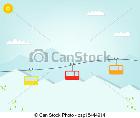 Vector Clip Art of Group of cable car cabins in mountains.