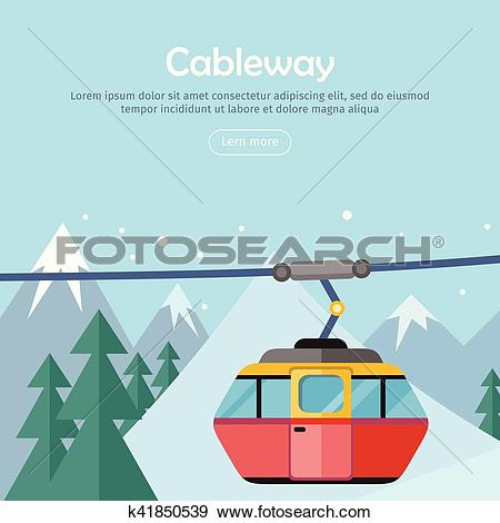 Clip Art of Cableway on Mountain Landscape. Web Banner Poster.