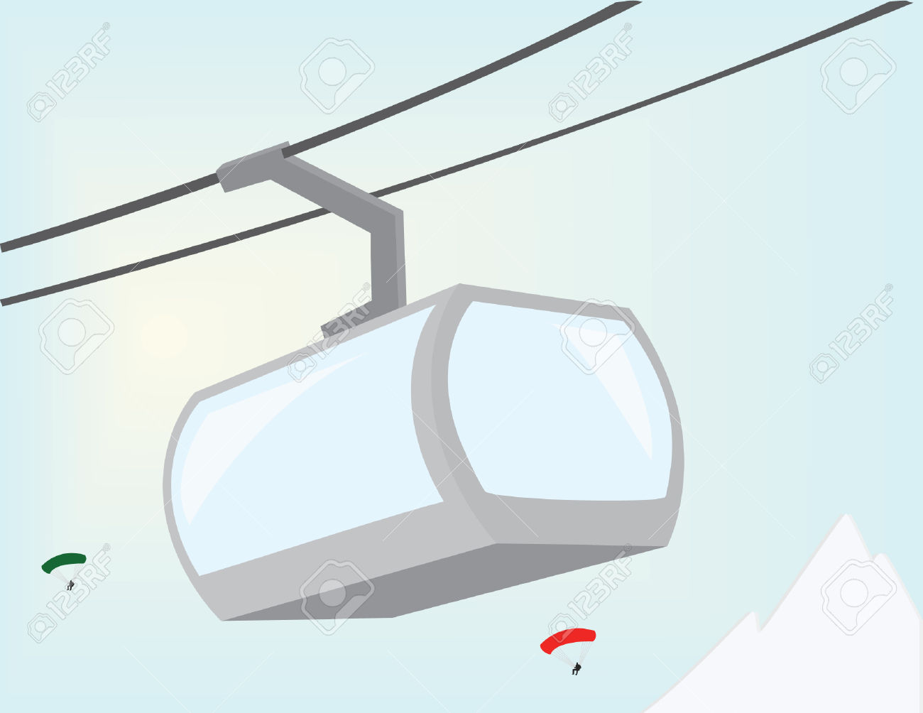 Cableway. Vectors Lift In The Mountains. Royalty Free Cliparts.
