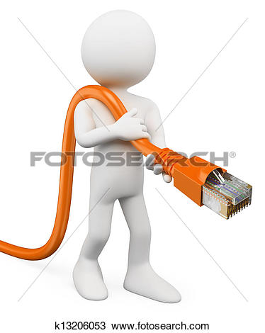 Stock Image of robot with RJ45 network cable k3340745.
