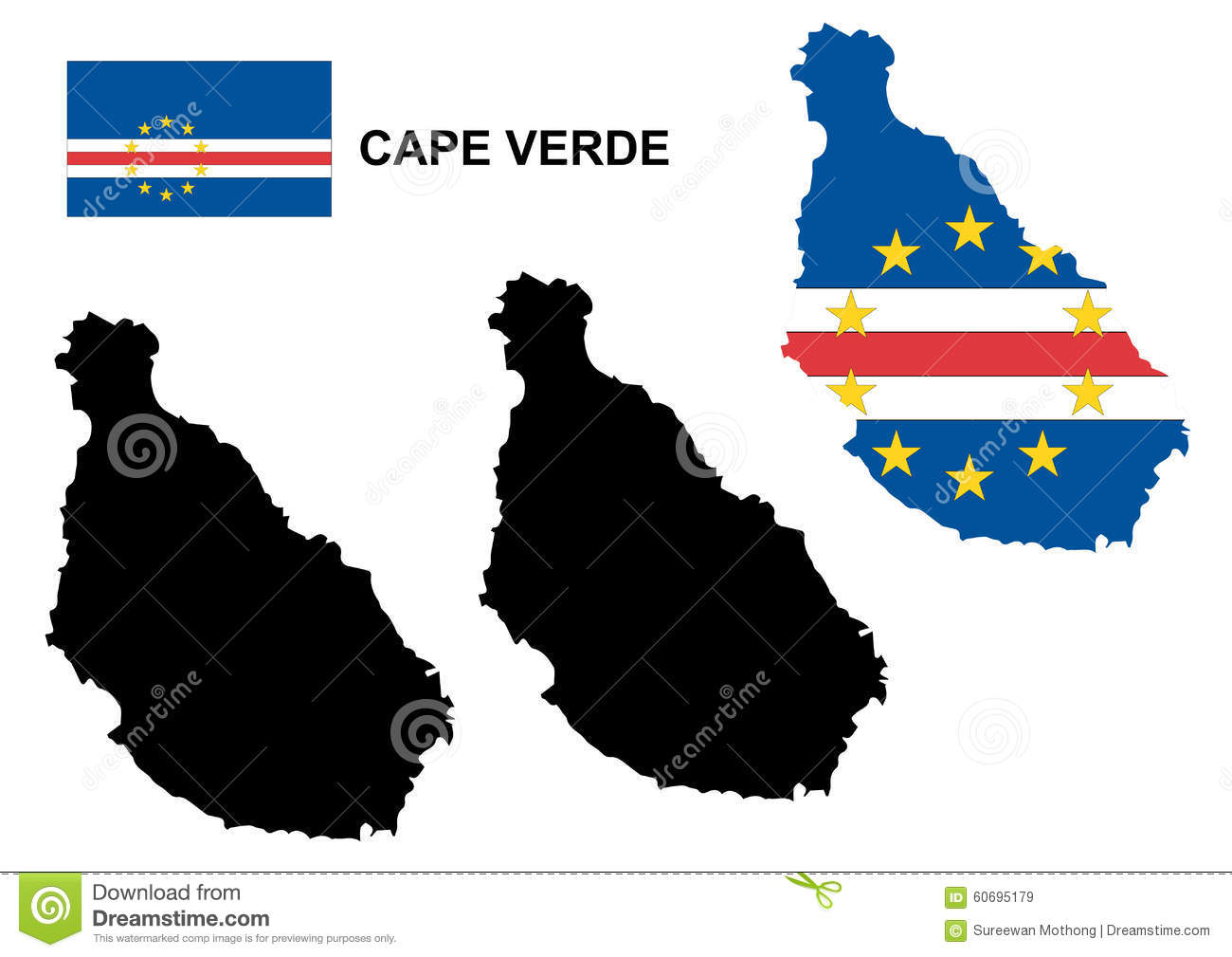 Cabo verde map clipart.