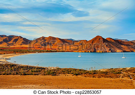 Stock Images of Playa de los Genoveses beach in Cabo de Gata.