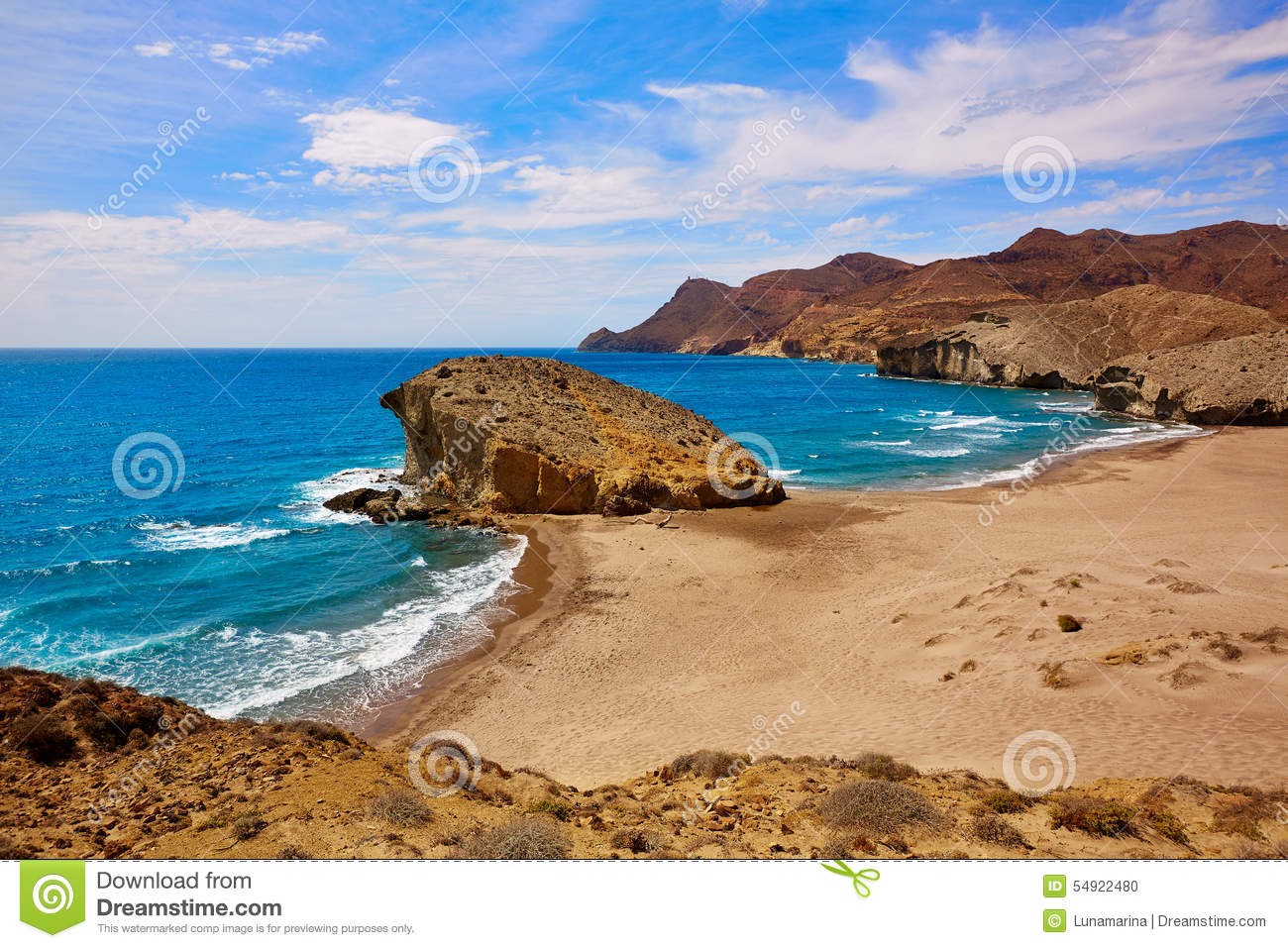 Almeria Playa Del Monsul Beach At Cabo De Gata Stock Photo.