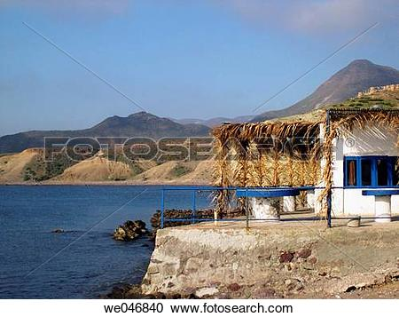 Stock Photography of White house and the Mediterranean Sea. Isleta.