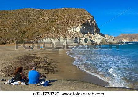 Stock Photography of Cabo de Gata, Cala de Enmedio, Beach, Cabo de.