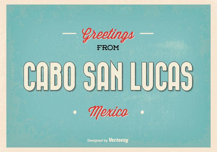 Cabo San Lucas Retro Greeting Illustration.