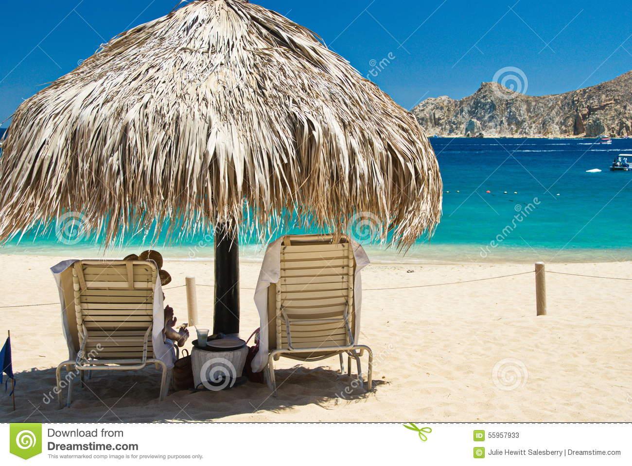 Cabo San Lucas Beach Relaxation Stock Photo.