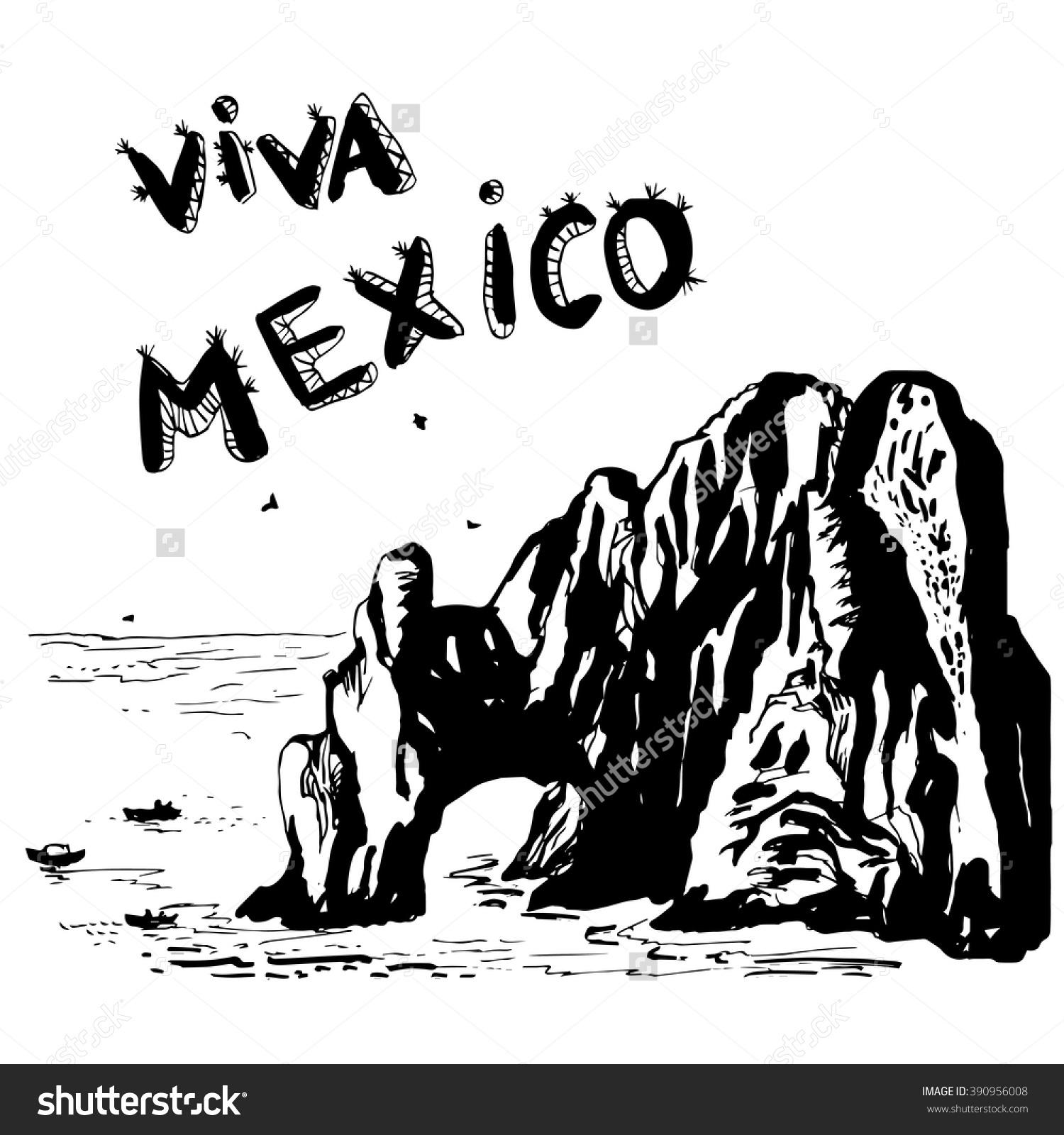 Arch Cabo San Lucas Mexico Vector Stock Vector 390956008.