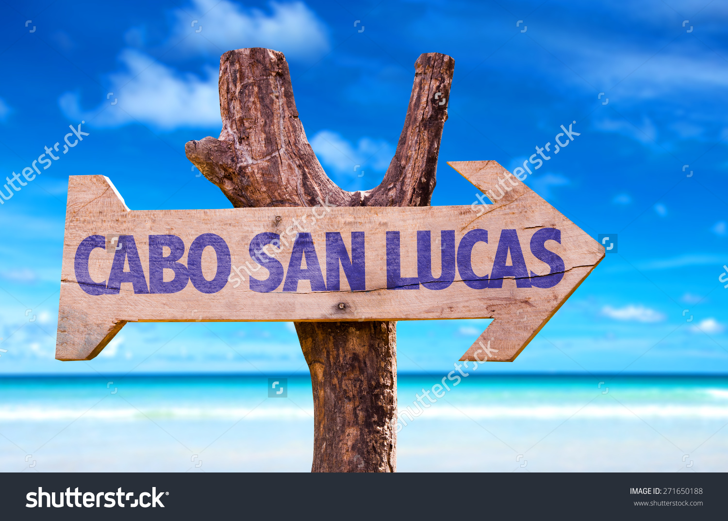 Cabo San Lucas Wooden Sign Beach Stock Photo 271650188.