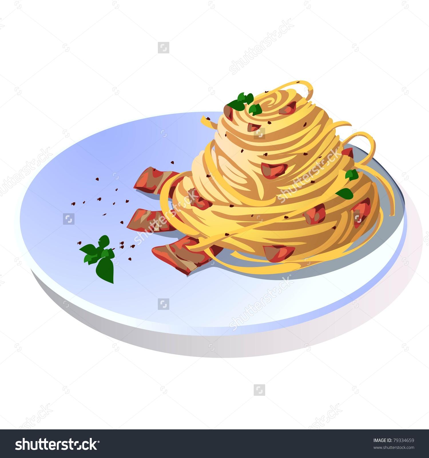 Hundred Carbonara Spaghetti Bacon Stock Vector 79334659.