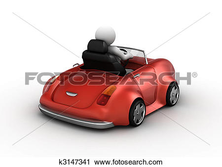 Clipart of Red cabrio driven by 3d character k3147341.