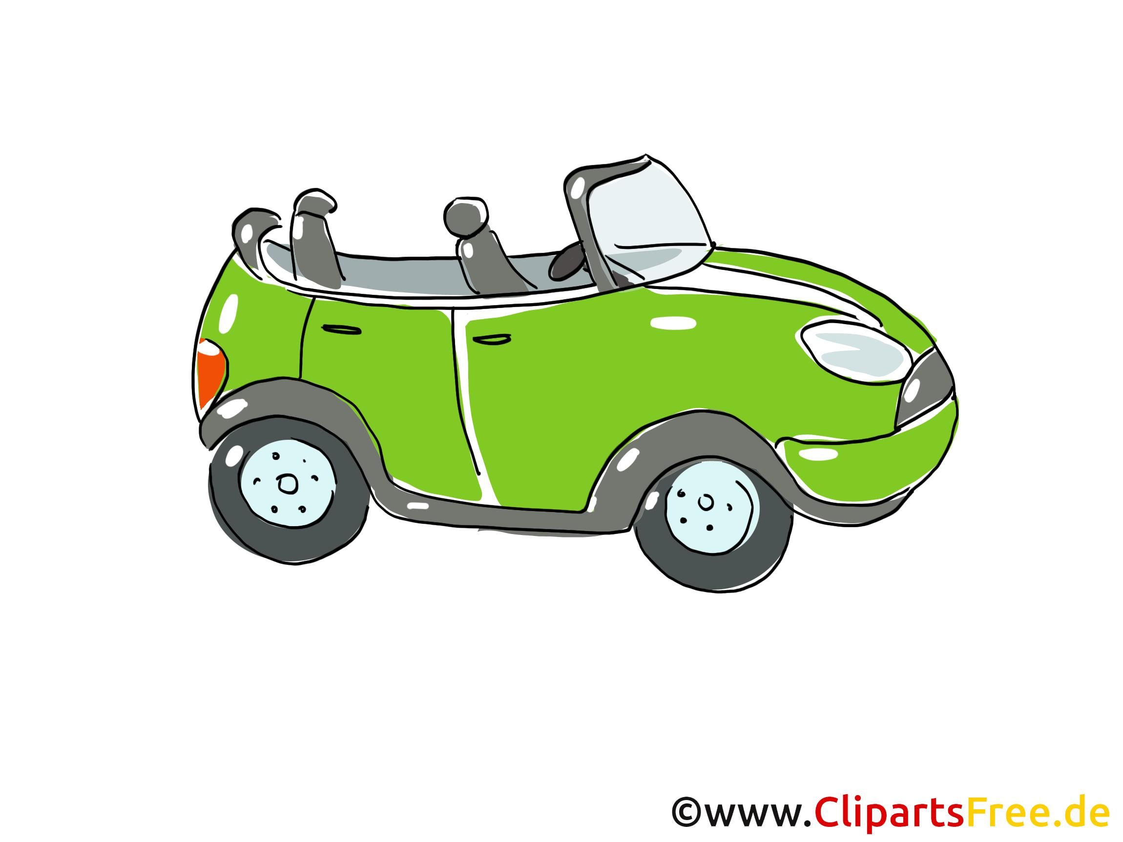 Cabriolet Clipart, Bild, Cartoon, Comic, Grafik.