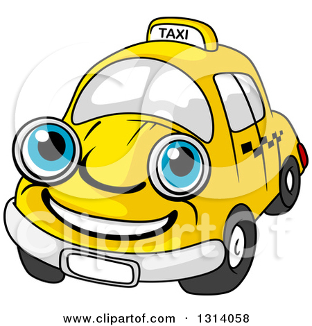 Clipart of a Thinking Yellow Taxi Cab.