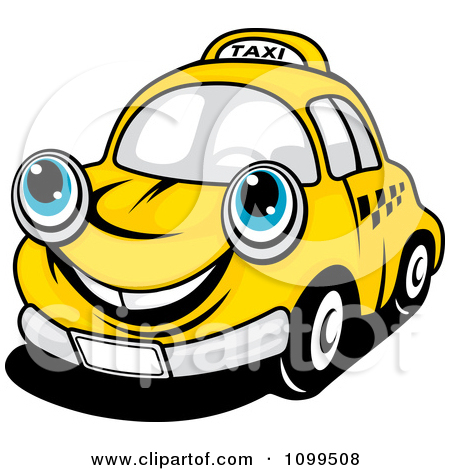 Clipart Happy Yellow Taxi Cab Smiling.