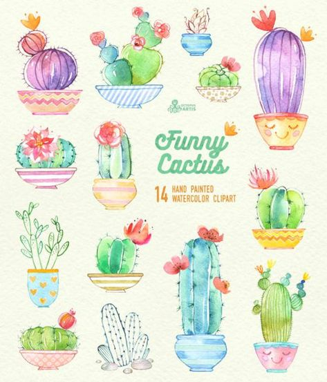 Funny Cactus in Pots. 14 Hand painted digital clipart, diy.