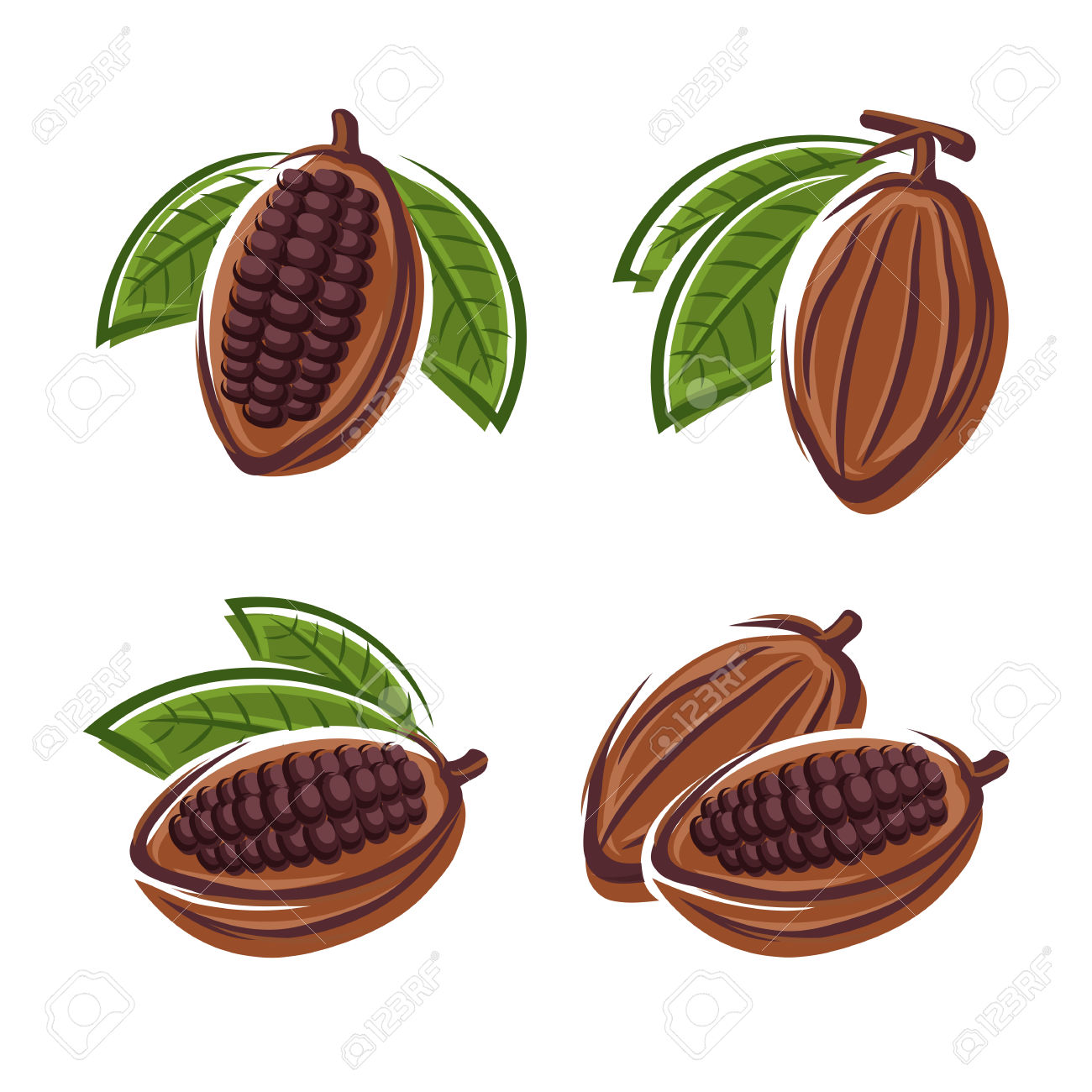 Cacao Beans Set Vector Royalty Free Cliparts, Vectors, And Stock.
